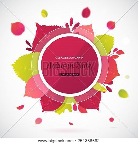 Flat Autumn Leaves Banner With Circle Onwhite Background.flat Fall Promotion With Gradient.
