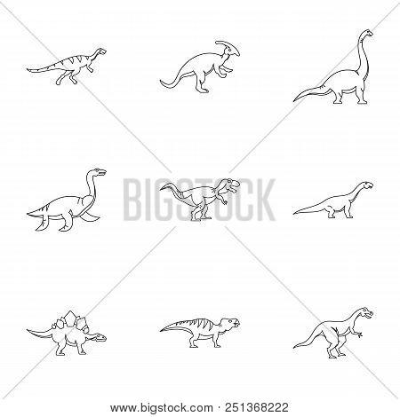 Wild Dinosaur Icons Set. Outline Set Of 9 Wild Dinosaur Vector Icons For Web Isolated On White Backg