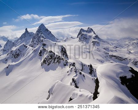 Gorgeous Mountain Landscape In Deep Winter With Impressive Peaks In The Alps Near Klosters