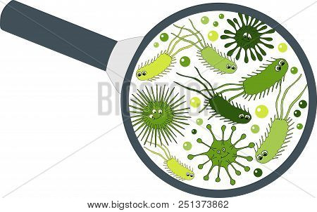 Bacterial Microorganism In A Magnifier. Bacteria And Germs Colorful Set, Micro-organisms, Bacteria,