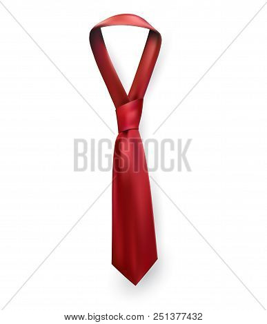 Realistic vector silk satin tie. Male necktie for business and formal clothing accessory attire, men fashion style trend. knot red poster