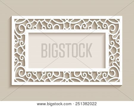Rectangle Frame With Ornamental Lace Border, Cutout Paper Decoration, Wedding Invitation Or Greeting