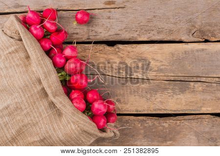 Overfilled Sack Of Radishes On Wood. Copysapce. Old Wooden Desk Background.