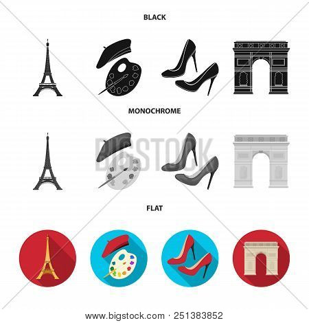Eiffel Tower, Brush, Hat .france Country Set Collection Icons In Black, Flat, Monochrome Style Vecto