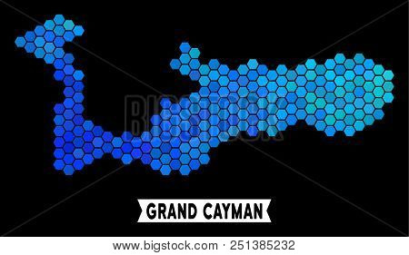 Blue Hexagon Grand Cayman Island Map. Geographic Map In Blue Color Shades On A Black Background. Vec