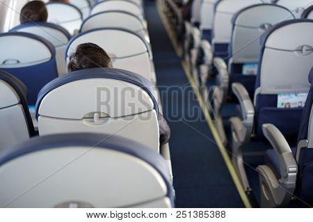Passenger Inside Cabin Flight Gray Interior Half Empty Salon Problem Porthole Window Airplane