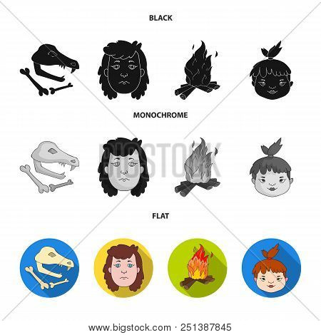Woman, Hair, Face, Bonfire .stone Age Set Collection Icons In Black, Flat, Monochrome Style Vector S