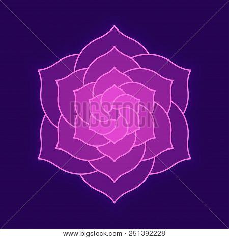 Abstract Lotus Flower Illustration On Dark Background. Geometric Flower Shape For Logo Design, Spiri