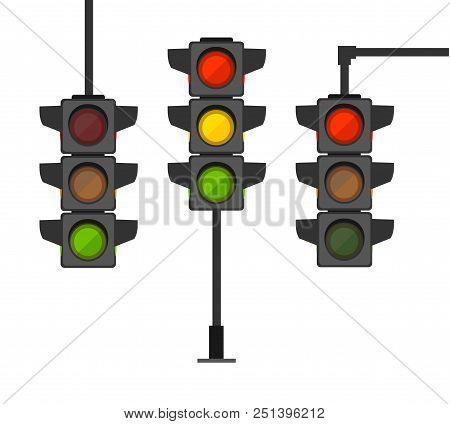 Cartoon Traffic Light Different Types Set Regulate Direction Concept Element Flat Design Style. Vect