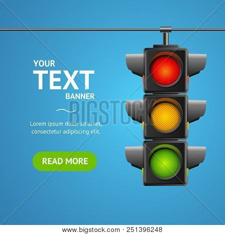 Cartoon Traffic Light Banner Card Business Concept Place For Text Element Flat Design Style. Vector