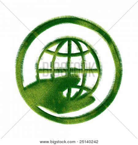 Recycle symbol made of grass