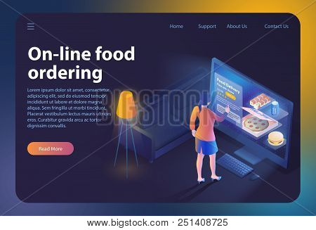 On-line Food Ordering. Online Ordering And Fast Food Delivery. Online Order Meal In Cafe. Girl Looks