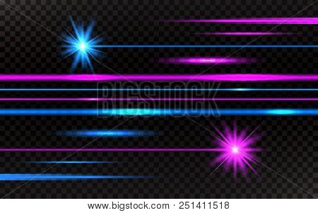 Laser Beams Set. Pink And Blue Horizontal Light Rays. Abstract Bright Lines On Transparent Backgroun