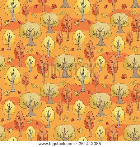 Seamless Pattern With Autumn Woodland. Colorful Vector Background.