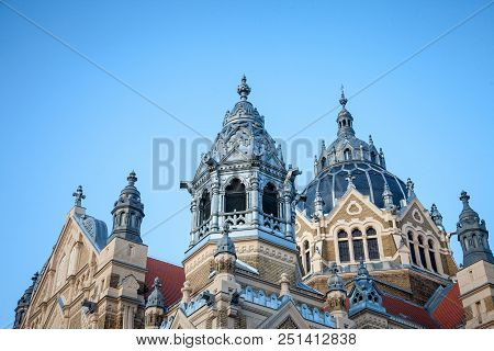 Detail On The Roof And Dome Of Szeged Synagogue  During The End Of The Afternoon. Designed By Lipot