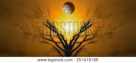 Mystic Tree of Life. Moon in The Sky. Sunset or Sunrise. 3D rendering poster