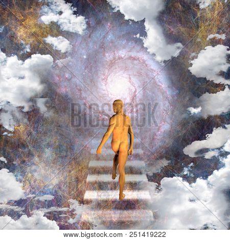 Man travels up stairway into heavens. 3D rendering