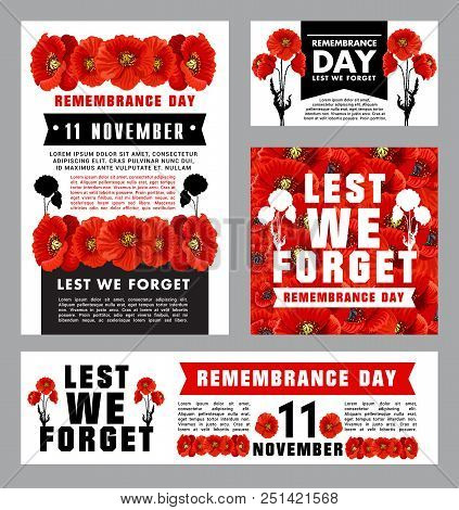 Remembrance Day Memorial Card Template With British Legion Red Poppy. World War Army Force, Soldier