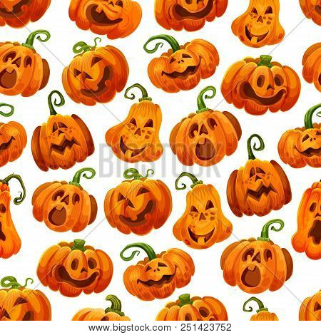 Halloween Pumpkin Seamless Pattern Background. Autumn Horror Holiday Festive Jack O Lantern With Fun