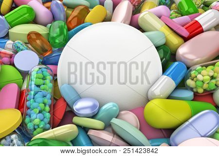 Collection of colorful pills with large white pill - 3d render