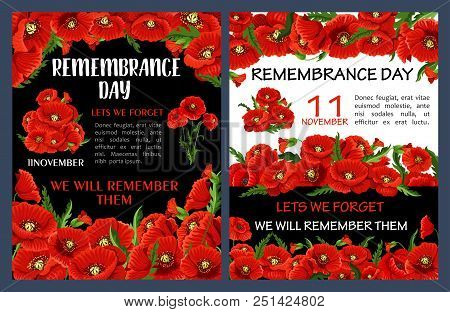 Remembrance Day Poster With Red Poppy Flower Frame. Lest We Forget Floral Banner For 11 November Wor