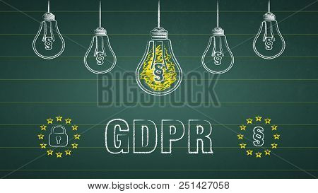 General Data Protection Regulation, Gdpr. Light Bulbs On A Chalkboard