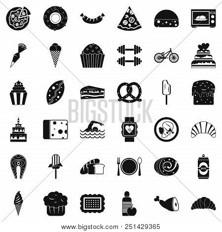 Calories in croissant icons set. Simple style of 36 calories in croissant vector icons for web isolated on white background poster