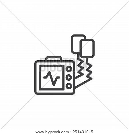 Defibrillator Machine Outline Icon. Linear Style Sign For Mobile Concept And Web Design. Automated E