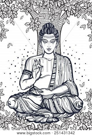 Sitting Buddha Over The Bodhi Tree. Graphic High-quality Vector Illustration. Spiritual And Religiou