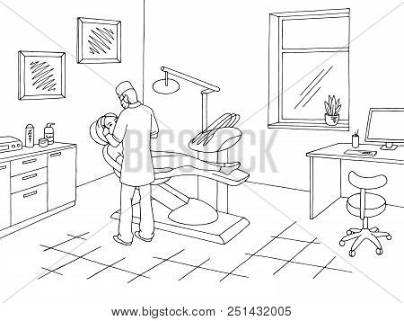 Dentist Office Clinic Graphic Black White Sketch Illustration Vector. Doctor Working
