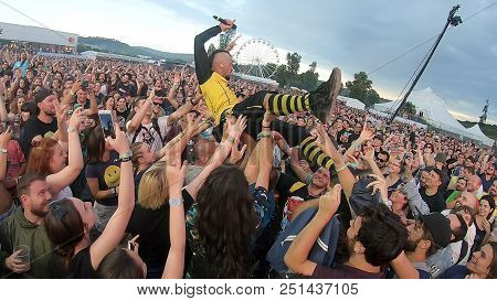 Rock Legend Doing A Crowd Surfing