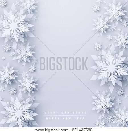 Vector Christmas And New Year Holidays Background With Realistic Looking Paper Craft Snowflakes. Sea