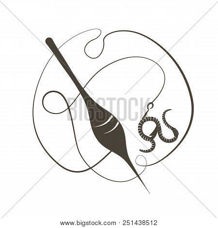 Bait The Worm. Fishhook. Vector Illustration. Flat Logo Fishing Float