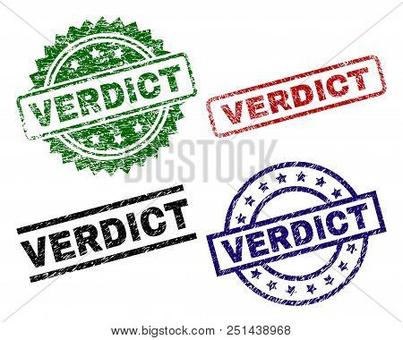 Verdict Seal Prints With Corroded Texture. Black, Green, Red, Blue Vector Rubber Prints Of Verdict C