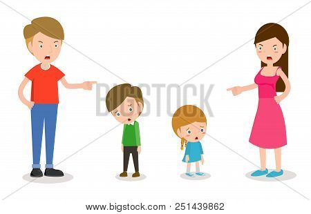 Scold Children, Father And Mother Scolding Son And Daughter, Parents Angry And Scold The Kids Isolat