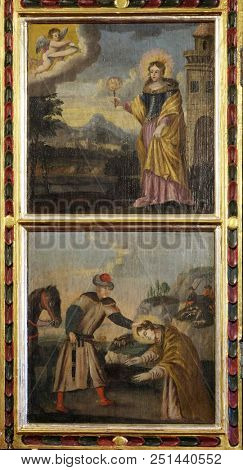 VELIKA MLAKA, CROATIA - MARCH 28, 2017: Scenes from the life of St. Barbara, a virgin and a martyr, a protector of miners and a good death, altarpiece Church of the St Barbara in Velika Mlaka, Croatia