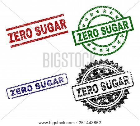 Zero Sugar Seal Prints With Distress Texture. Black, Green, Red, Blue Vector Rubber Prints Of Zero S