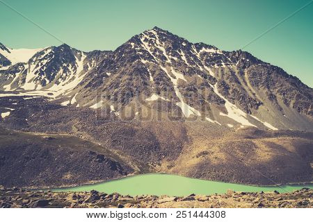 Beautiful Panoramic View At Kucherla Mountain Lake And Mountain Range. Belukha National Park, Altai