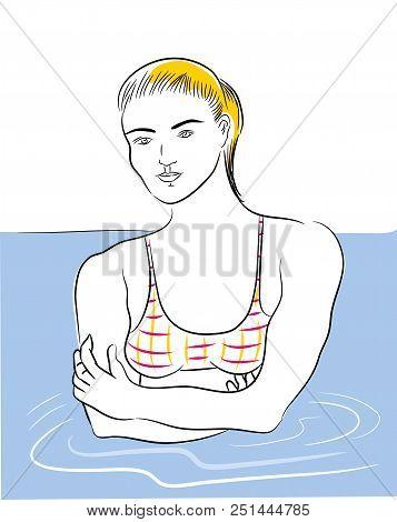 Girl In The Sea.  Beautiful Blond Bikini Girl In The Summer Holiday.