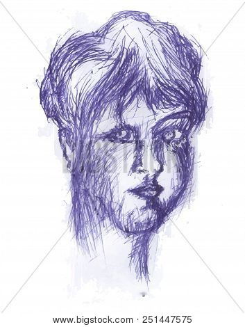 Girl Head.  Blue Pencil Sketch Head Of Girl. Illustration Of Young Female.