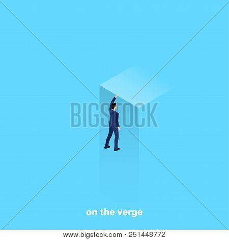 A Man In A Business Suit Is Hanging By The Edge Of A Cliff With One Hand, An Isometric Image