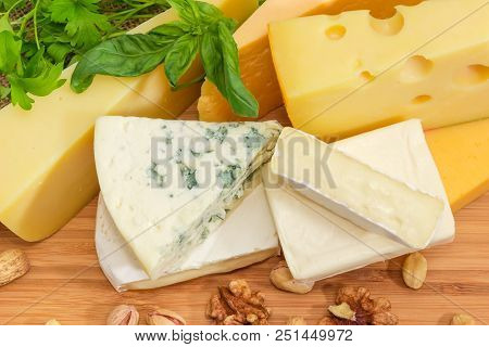 Top View Of Pieces Of Different Soft And Semi-soft Cheese With Mold, Medium-hard And Hard Cheese Amo