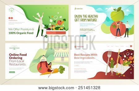 5e21291b37c Set of web page design templates for organic food and drink
