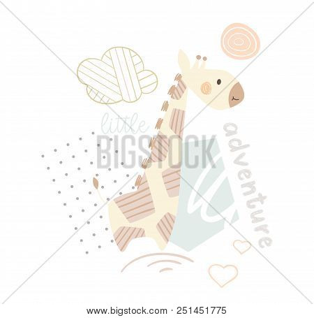 Giraffe Baby Cute Print. Sweet Zoo Animal. Mother And Child Fashion Child Vector. Cool African Safar