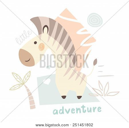 Zebra Baby Cute Print. Sweet Zoo Animal. Mother And Child Fashion Child Vector. Cool African Safari