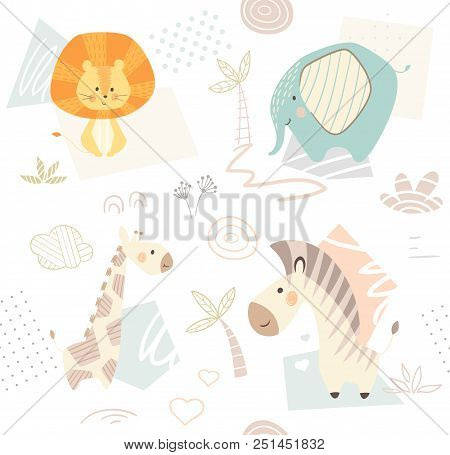 Lion Giraffe, Zebra, Elephant Baby Cute Seamless Pattern. Sweet Zoo Animal Print. Mother And Child F