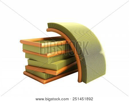 Car Air Filter 3d Render On White No Shadow