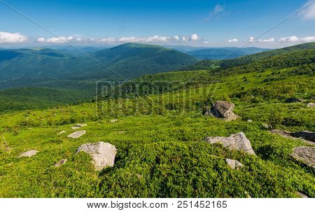 Beautiful Summer Landscape In Mountains. Green Grassy Hillside And Blue Mountains In The Distance. S
