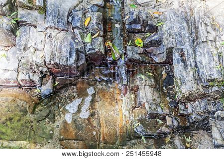Stone Abstract Relief In A Mountain River. Photo Shows A Stone Texture. The Texture Of The Stone, I