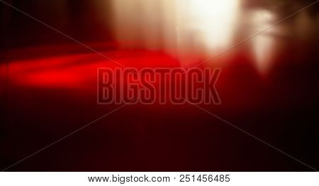 Wide Angle Abstract Red Blur Background. Light And Dark Red Gradient Texture For Design. Glass Of Re